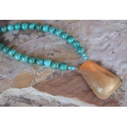 SIT 50n Silk Textured Forged Solid Brass Graduated Contemporary Trapezoid Necklace - Turquoise