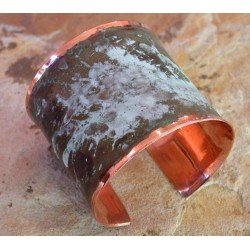 CMP 605bc Marbleized Patina Hand Forged Smooth Edge Two Inch Wide Solid Copper Cuff