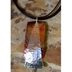 CPI 811pd Copper Iridescent Art Deco Layered Rectangle and Sterling Triangle Pendant