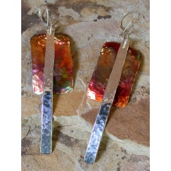CPI 815e Copper Iridescent Art Deco Layered Rectangle and Sterling Stripe Double Dangle Earrings