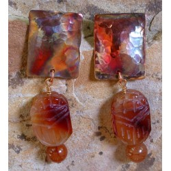 CPI 604e Forged Copper Iridescent Domed Rectangle Earring - Hand Carved Carnelian Scarab Beaded Dangles