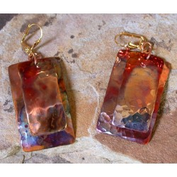 CPI 814e Hand Forged Copper Iridescent Large Domed Rectangles Double Dangle Earrings
