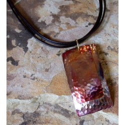 CPI 810pd Copper Iridescent Double Rectangles Pendan - Brown Rawhidet