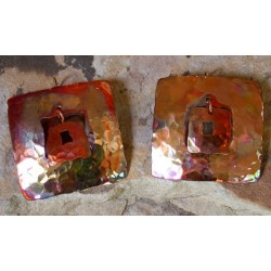 CPI 602e Hand Hammered Copper Iridescent Large Open Square within a Square Earrings
