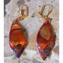 CPI 10e Copper Iridescent Abstract Leaf Double Dangle Earrings