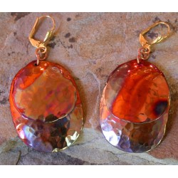 CPI 607e Copper Iridescent Large Double Oval Dangle Earrings