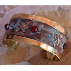 SMP821cf  Lost Wax Cast Solid Brass Symbols Collection Cuff - Amethyst, Carnelian, Garnet