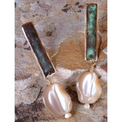 ET 22eMOP Etched Patina Solid Brass Elongated Rectangle Earrings - Mother Of Pearl