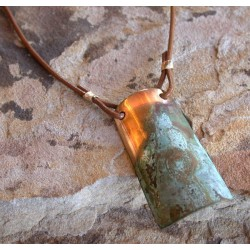 ET 691pd Etched Patina Forged Solid Brass Contemporary Classic Elongated Barrel Pendant