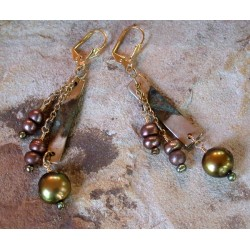 ET 99ePE Etched Patina Brass Link Triple Dangle Earrings - Bronze, Olive Pearls