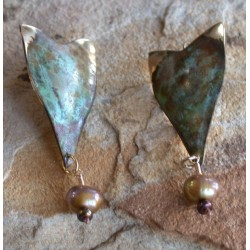 ET 11e Etched Patina Solid Brass Earrings - Gold/Bronze Pearls