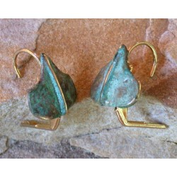AP45e Ancestors Collection Patina Cast Brass Ginkgo Leaf Earrings
