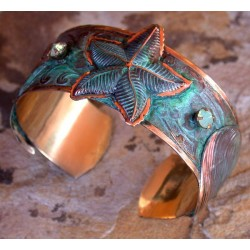 Verdigris Patina Brass Starfish, Clam, Tropical Fish Cuff - Pale Green Opal Swarovski Crystals