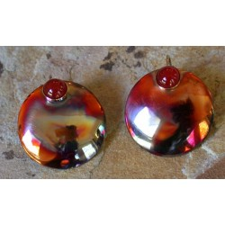 CEP 482e Iridescent Copper Essence Forged Solid Copper Domed Circle Earrings - Carnelian