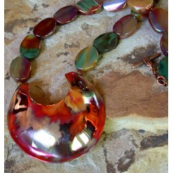 CEP292n - Iridescent Copper Essence Contemporary Classic C Necklace - Iridescent Agate