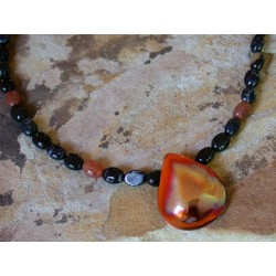 CEP31n Iridescent Copper Essence Hand Forged Teardrop Necklace - Black Zebra Agate