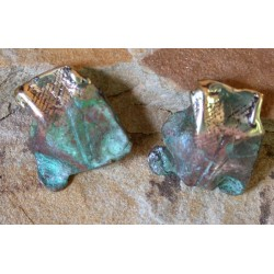 ORP67e Verdigris Patina Lost Wax Cast Brass Origins Series Abstract Earrings