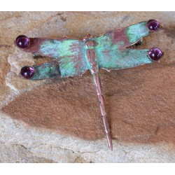 NAP7355p Verdigris Patina Solid Brass Dragonfly Pin - Amethyst