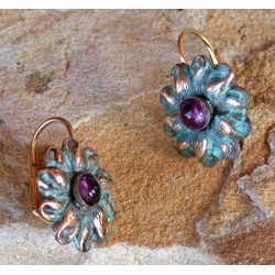 NP9129eAM Verdigris Patina Brass Flower Earrings - Amethyst