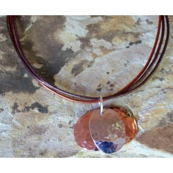 TRM32pd Hand Hammered Copper and Sterling Layered Bimetal Overlapping Ovals Pendant on Metallic Rawhide