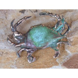 ECP8p Verdigris Patina Solid Brass Crab Pin