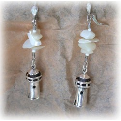 CCS75e Lost Wax Cast Sterling Lighthouse Dangle Earrings - Mother of Pearl