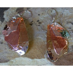 TRM1427e Brass, Copper and Sterling Layered Trimetal Asymmetrical Dangle Earrings