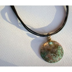 TDP 46pd Verdigris Patina Hand Hammered Textured Brass Circle Pendant on Tri-color Rawhide - Light Amazonite