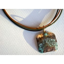 TDP 43pd Verdigris Patina Hand Hammered Textured Brass Tag Pendant on Tri-color Rawhide - Light Amazonite