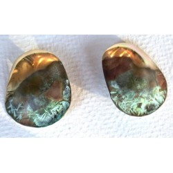 TTP 390e Verdigris Patina Textured Solid Brass Contemporary Oval Earrings