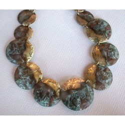 TTP 303n  Verdigris Patina Solid Brass Textured Tealeaf Graduated Domed Circles Necklace
