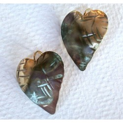 TTP 11e Verdigris Patina Brass Hand Forged Textured Tealeaf Contemporary Domed Heart Earrings