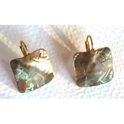 TTP 8883e Verdigris Patina Brass Hand Forged Textured Tealeaf Small Domed Square Earrings