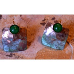 TDP 888eJD Verdigris Patina Hand Hammered Brass Domed Square Earrings  -  Green Jade