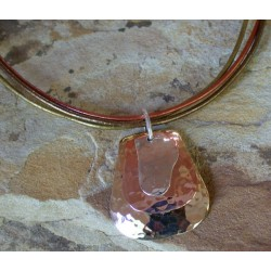 TRM127pd Brass, Copper and Sterling Layered Trimetal Pendant on Rawhide
