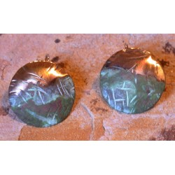 TTP 4826e Verdigris Patina Hand Forged Textured Tealeaf Contemporary Classic  Domed Circle Earrings