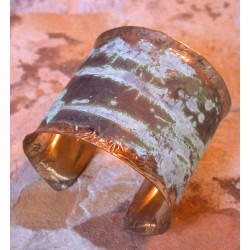 TTP 605bcSP Splash Verdigris Patina Hand forged Brass 2 Inch Wide Cuff - Textured Tealeaf Lip Detailing