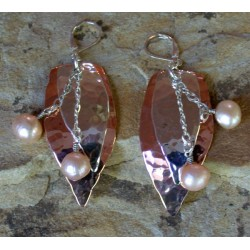 TRM1327e Copper and Sterling Layered Abstract Leaves Dangle Earrings - Pink Pearls