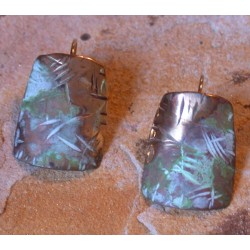 TTP 2e Verdigris Patina Brass Contemporary Textured Tealeaf Tapered Barrel Earrings