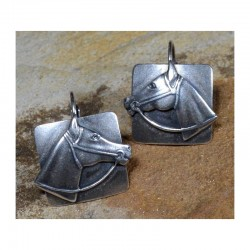 Antiqued Silver Brass Horse...