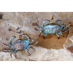 OCP76e Verdigris Patina Solid Brass Crab Earrings