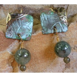 TTP 396eTUR  Hand Forged Verdigris Patina Brass Textured Tealeaf Small Domed Square Earrings - Green Tourmaline