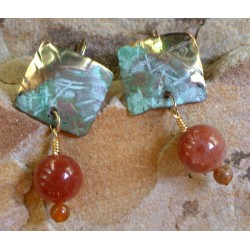 TTP 396eRTUR  Hand Forged Verdigris Patina Brass Textured Tealeaf Small Domed Square Earrings - Rose Tourmaline