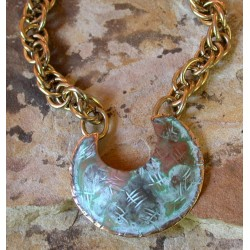 TTP 292pdCH  Verdigris Patina Solid Brass Textured Tealeaf Contemporary Classic C Pendant  -  Large Multi Link Chain