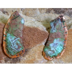 TTP93e  Hand Forged Verdigris Patina Solid Brass Textured Tealeaf Abstract Curve Earrings