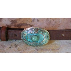 AQP726buckle Verdigris Patina Solid Brass Water Lily Buckle - Jade