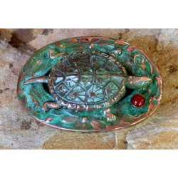 AQP72buckle Verdigris Patina Solid Brass Box Turtle Buckle - Carnelian