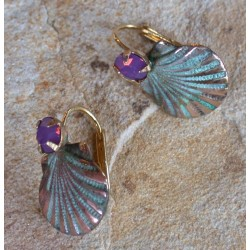 OCP 26eCR Verdigris Patina Brass Scallop Shell Earrings - Swarovski Crystals