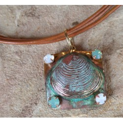 OCP6910pd Verdigris Patina Clam Shell Pendant - Pacific Blue, White Opal Crystals