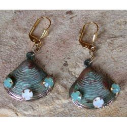 OCP6910eVerdigris Patina Clam Shell Dangle Earrings - Pacific Blue White Opal Crystals